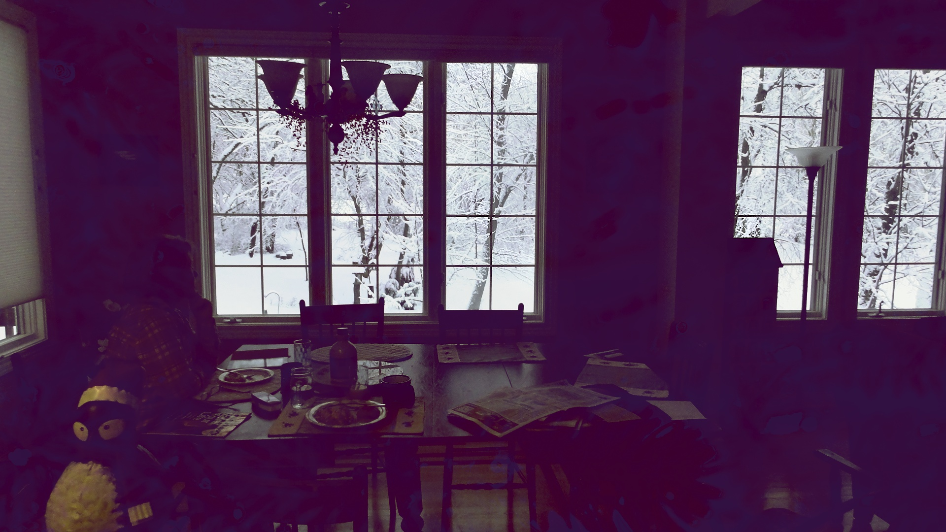 The morning after, An hour and a half of shoveling and i have breakfast in a fairyland.